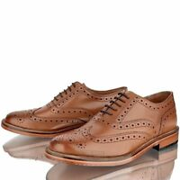 MENS LEATHER TAN BROGUE OFFICE CASUAL SMART LACE UP FORMAL PARTY SHOES SIZE 6-12