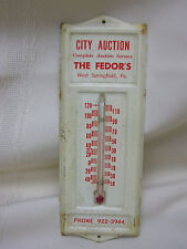 Vintage West Springfield, Pa Thermometer Advertising The Fedor's City Auction