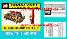 Corgi Toys 485 Mini Countryman Instruction Leaflet and Poster Shop Display Sign