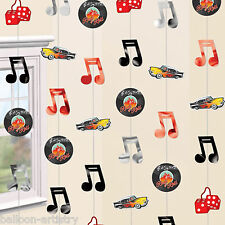 6 Classic 50's 1950's Rock Roll Party 2.1m Hanging Cutout String Decorations