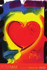 PETER MAX POSTER HEART-FACSIMILE SIGNED WITH DOODLE-24 X 36