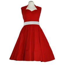 Rockabilly 50er Neckholder  Kleid Petticoat Pin Up Party Baumwolle S-M 101 Rot
