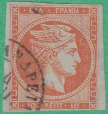 Greece #46 used 10L large Hermes head with numerals cream paper 1875 cv $45
