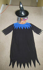 Girls Childs Classic Witch Halloween Fancy Dress Costume Hat M Age 7-10 Yrs