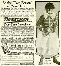 1921 Ad Buescher Band Instrument True-Tone Saxophone Tom Brown Blackface YYC3