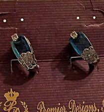 Premier Designs Sea of Love Earrings Blue Austrian Crystal/CZ Silver Plate Post
