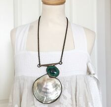 CHLOE RUNWAY 07P MALACHITE & SHELL STATEMENT NECKLACE