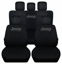 2007-2010 JEEP WRANGLER 4DR CAR SEAT COVERS front&back blk w/Jeep,CHOOSE COLOR
