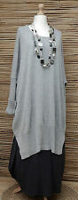 "LAGENLOOK 100% COTTON OVERSIZE LONG JUMPER/TUNIC*GREY*BUST UP TO 60""OSFA XL-XXXL"