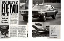 "1970 DODGE ""HEMI"" CHALLENGER  ~  GREAT 3-PAGE ARTICLE / AD"