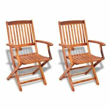 Set of 2 Folding Dining Chair Patio Furniture Outdoor Seating Acacia Hardwood