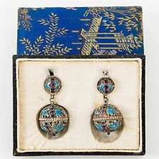 Antique Chinese Perfume Earrings Silver Filigree & Blue Enamel Dangle Screw-post
