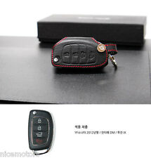 Red Stitch Folding key Leather Holder Case Genuine For Hyundai Tucson ix35 2011+