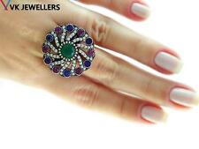 Turkish Traditional Jewelry 925 Silver Handmade Emerald Sultan Ring Size 8 R1848