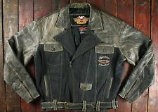 RARE HARLEY DAVIDSON LEATHER & DENIM LEGENDARY MOTORCYCLE JACKET VTG BIKER LARGE