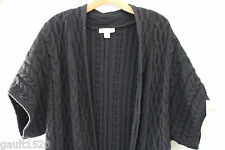 NWT Coldwater Creek Cozy Black Cable Knit Crescent Cardi Top Sweater M 10 12 $90