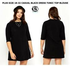 LADIES SIZE 18-30 BLACK CASUAL SHIFT DRESS SMART SKATER TUNIC TOP BLOUSE OFFICE