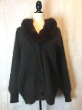 Exclusively Misook ANGORA Real FOX FUR COLLAR Venesha CARDIGAN SWEATER L XL 1X