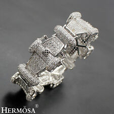 Deluxe Hermosa® 925 Sterling Silver White Topaz HOT Wide Band Bangle Cuffs 7''