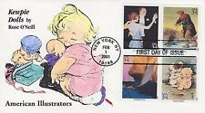 DYNAMITE COVERS HAND PAINTED/COLORED FDC FIRST DAY COVER 2001 KEWPIE DOLLS 4 STA