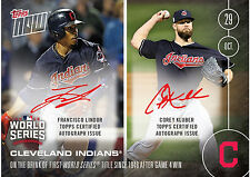 2016 Topps Now 644-B Francisco Lindor Corey Kluber Dual On-Card Auto Indians /99