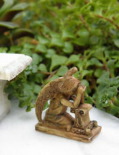 Miniature Dollhouse FAIRY GARDEN Accessories ~ Antiqued Praying Angel Statue NEW