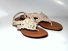 SALE American Eagle Women Gladiator Sandals Beige Flats Ystrap Thong Macrame 8.5