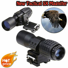 5X Magnifier Scope Sight w/ Flip-to-Side Dovetail QD Mount For Red Dot Laser