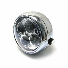 "Universal 5 1/2"" LED Chrome Steel Headlight Project Custom Motorbike Motorcycle"