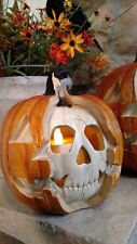 "NIB 8.5"" Realistic Skeleton Skull Jack O Lantern Light up HALLOWEEN PROP Decor"