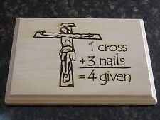 NEW Laser Engraved Wood Plaque with Crucifix Image of Jesus on the cross