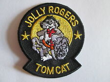 JOLLY ROGERS TOMCAT Embroidered  Iron - On Patch P094