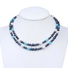 New Agate 8mm Rice Oval 7-8/9-10mm Freshwater Black Pearl Long Chain Necklace