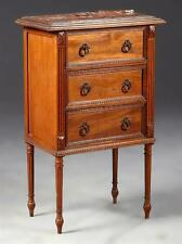 French Louis XVI Style Carved Walnut Marble Top Nightstand, c. 1900,... Lot 2539