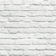 MURIVA PAINTED WHITE BRICK WALLPAPER (102539) NEW FEATURE WALL