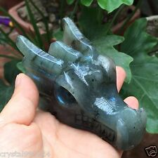 "3.57"" Labradorite Natural Quartz Crystal Carved Dragon Crystal Skull  229g G07"