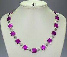 "Lovely purple shell 12mm square bead necklace, Tibetan silver spacers 20""+2"