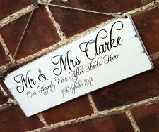 Shabby Wedding Sign Personalised Gift Chic Happily Ever After