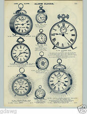 1905 PAPER AD 2 Sided Alarm Clocks Ansonia New Haven Western Clock Long