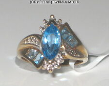 EXQUISITE ESTATE 10K YELLOW GOLD MARQUISE BLUE TOPAZ & DIAMOND RING Size 5.75