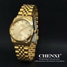 CHENXI Casual Crystal Gold Stainless Steel Strap Analog Men's Quartz Wrist Watch