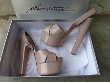 Brian Atwood Manhattan Nude Patent Skyhigh Open Toe Platform Sandals EU 41