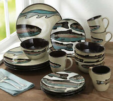 Trout Dishes Plates Bowls Fishing Lodge Fish Camp Cabin 16 Piece Dinnerware Set