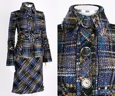 TULEH 2-PC BLACK PURPLE BLUE TWEED BLAZER JACKET SKIRT SUIT SET SZ 2