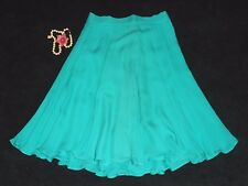 "USA Vtg S XS Silk Skirt Full Circle 128"" Sweep Lined Green Swing Dance Salsa"