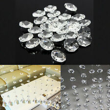 50pcs 14mm Clear Crystal Glass Octagonal Beads Chandelier Prisms Decor Pendant