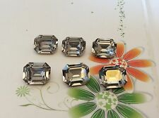 Vintage Swarovski #4610 Rhinestone Black Diamond Octagon 12x10mm CRAFT Pack 6