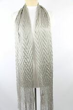 B85 Silver Pleated Chevron Zig Zag Texture Pressed Formal Evening Scarf Shawl
