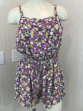 Mini Boden Girls Sleeveless Romper Purple Pink Yellow Floral Button Down 13/14 Y