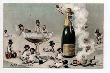 CHAMPAGNE CPA 51 Vins Vignes et themes enfants bébés multiples PUB MONTROUGE 92